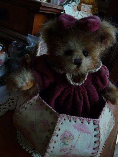 Peek-a-boo teddy in pink card box
