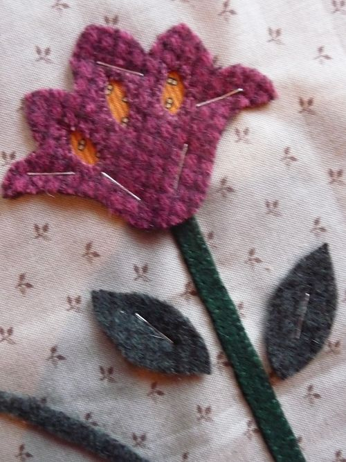 Reverse wool applique