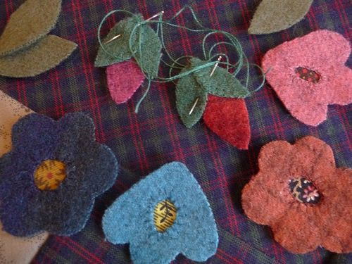 Wool applique flowers