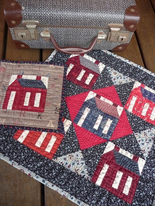 Two Little Red Schoolhouse Quilts