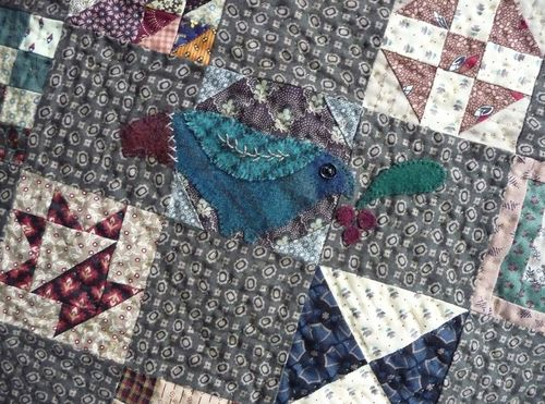 Wool applique birdie